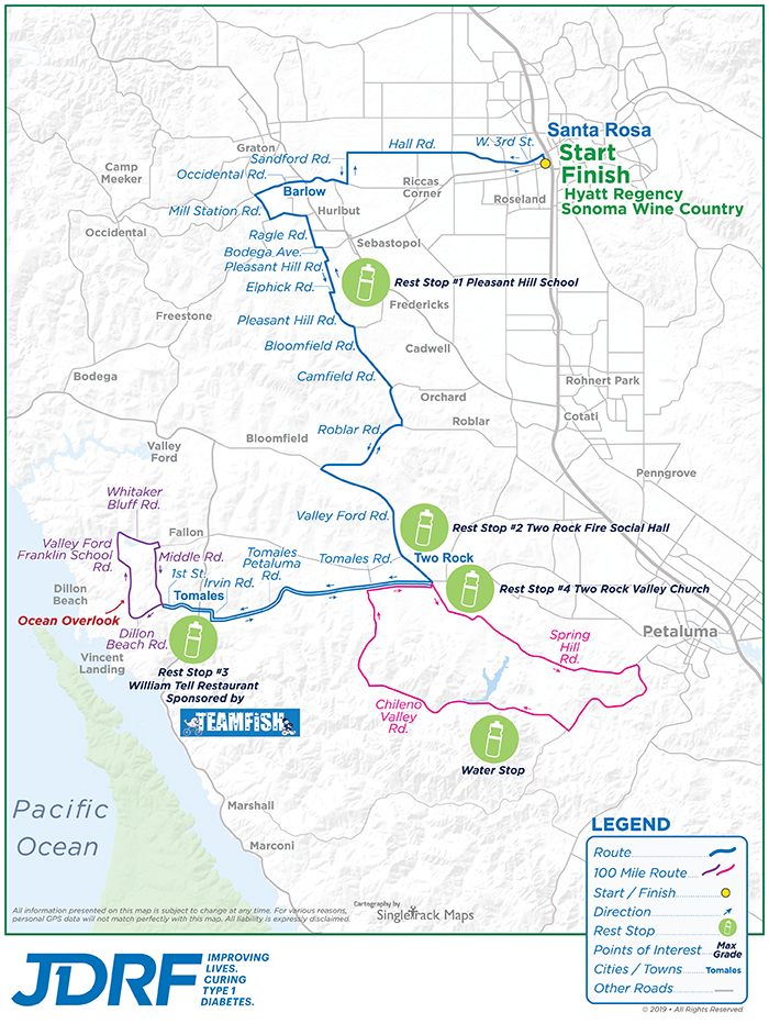 Sonoma Valley California Map.Jdrf 2019 Sonoma Ride To Cure Diabetes Jdrf Ride To Cure Diabetes