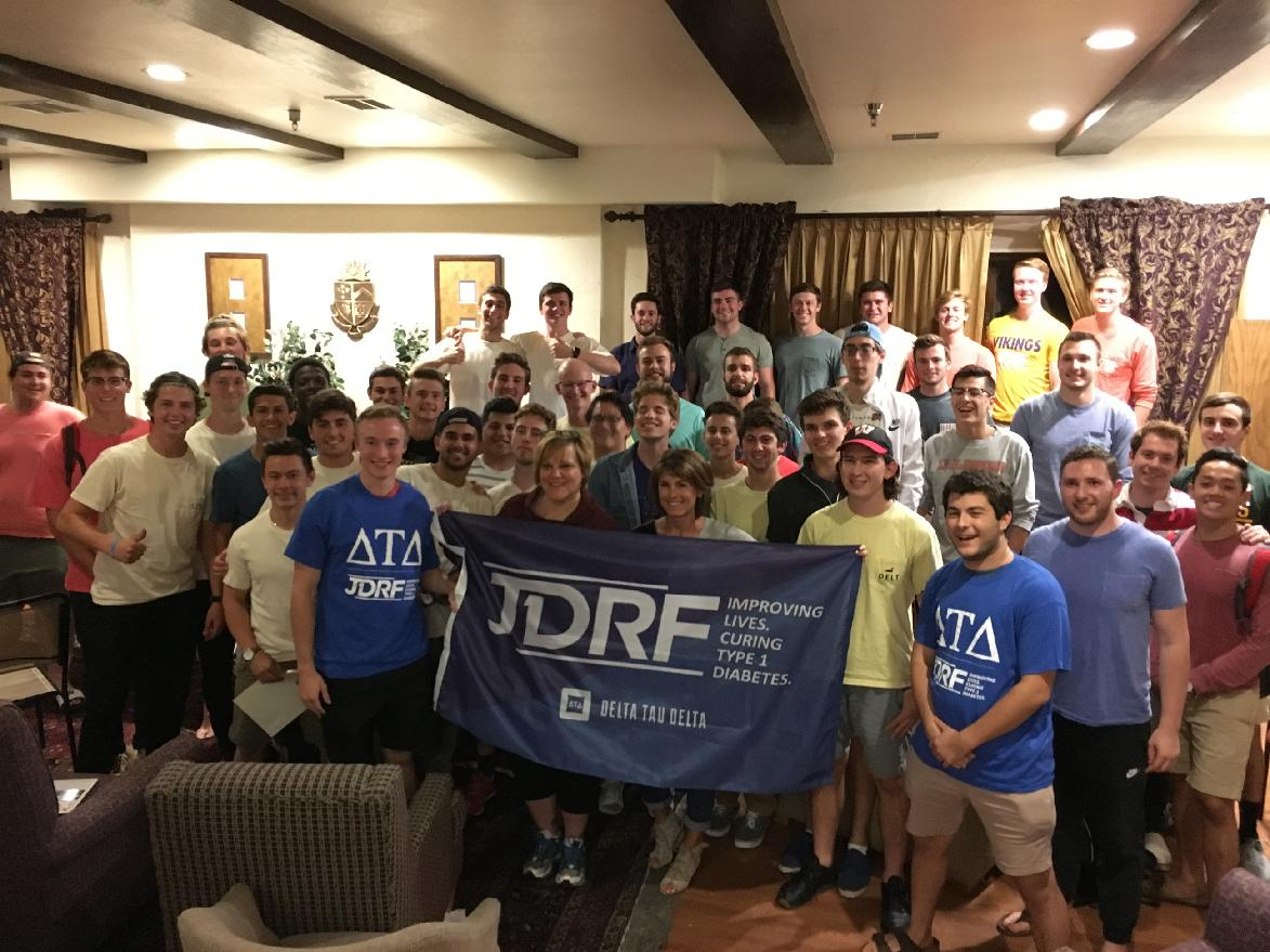 Beta Gamma Delts With Two JDRF Volunteers At Our Chapter Meeting
